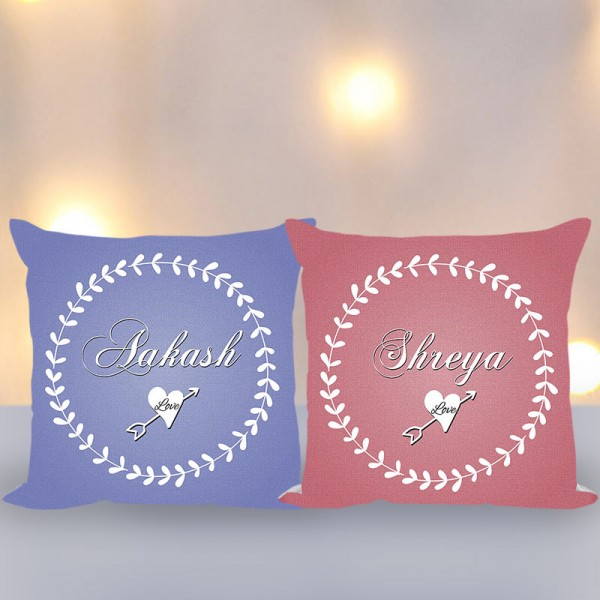 Set of 2 Personalised Name Cushions for Couples