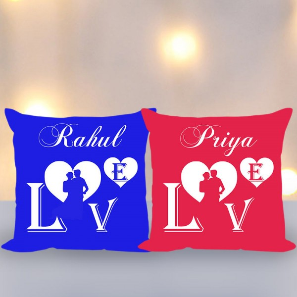 Personalised Name Printed Cushion for Couple