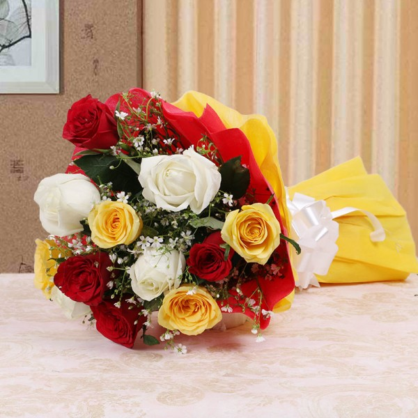 10 Assorted Roses with Special Paper Packing