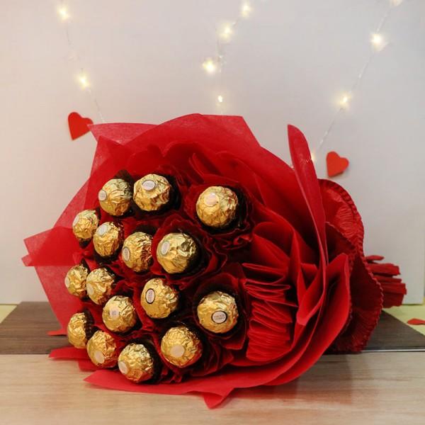 Bouquet of 16 pcs Ferrero Rocher Chocolate