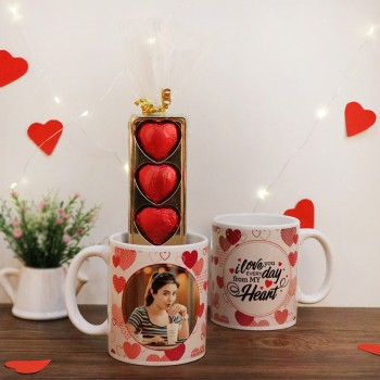 One Personalised White Ceramic Mug with 5 Heart Shape Assorted Chocolate Pack