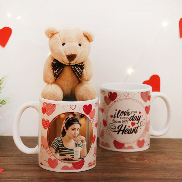 White Handle Designer Personalised Mug with 3 inches Teddy Bear