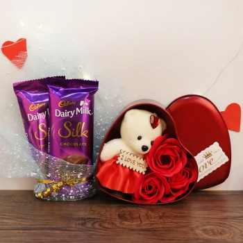 Heart Shape Teddy Box Gift with 2 Dairy Milk Silk Chocolate for Valentines Day