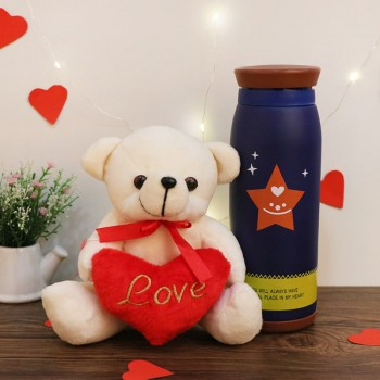 Valentines Day Teddy Bear with a Heart and Designer Bottle
