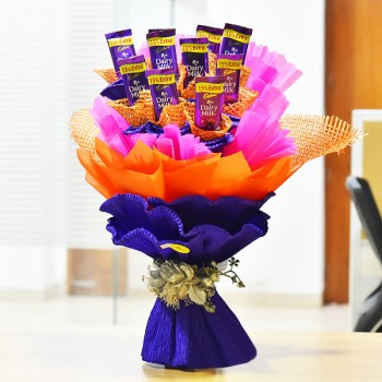 An Chocolate Bouquet of 10 Dairy Milk Chocolates of 13 gms each