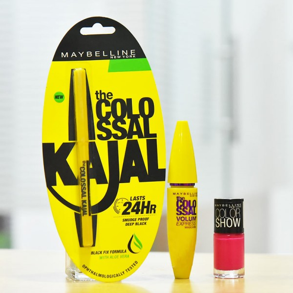 Maybelline Kajal with Colossal Glamour and Nail Paint
