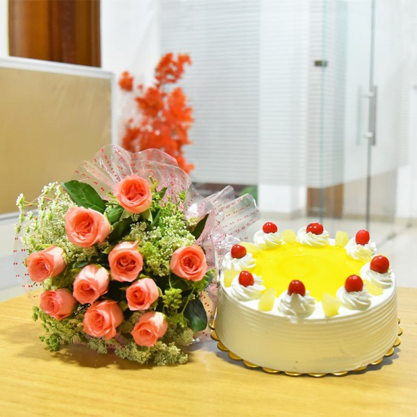 10 Pink Roses and Half Kg Pineapple Cake