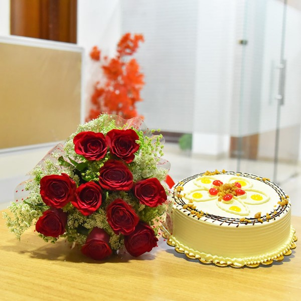 10 Red Roses and Half Kg Butterscotch Cake