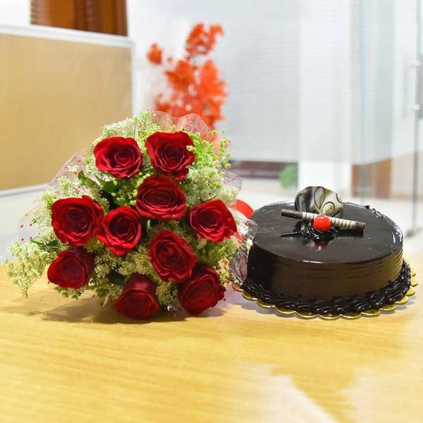 10 Red Roses and Half Kg Chocolate Truffle Cake