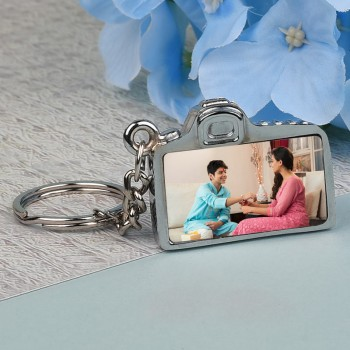 Camera Shape Metallic Keychain for Rakhi