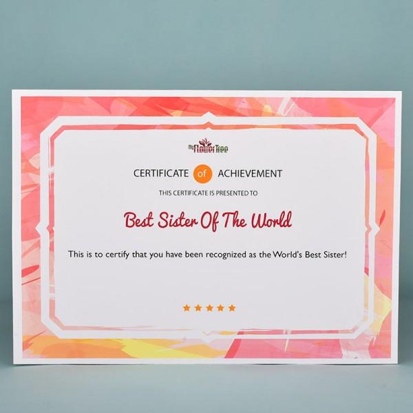 Worlds Best Sister Certificate