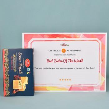 Printed Certificate with Soan Papdi Pack
