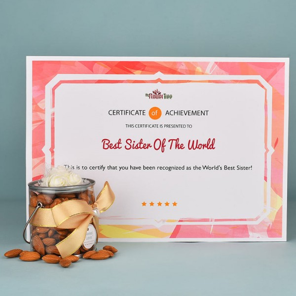 Almonds N Certificate for Sister