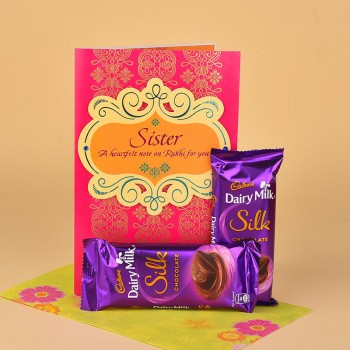 Dairy Milk Silk and Rakhi Greeting Card for Sister