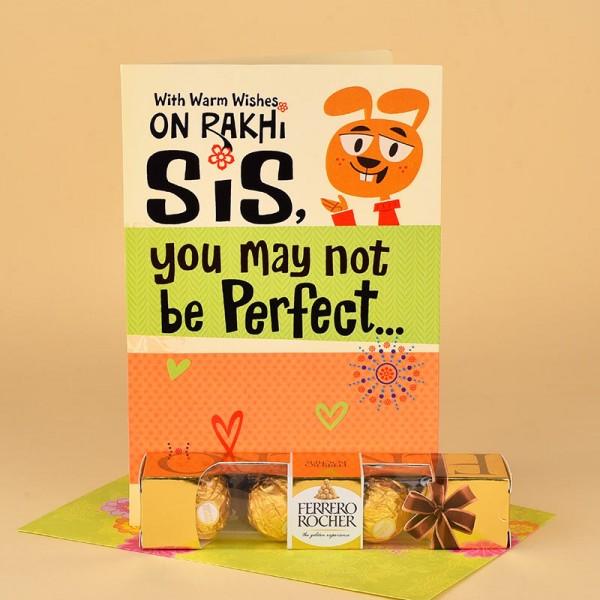 Ferrero Rocher Chocolates N Rakhi Greeting Card for Sister