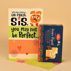 Soan Papdi N Rakhi Greeting Card for Sister