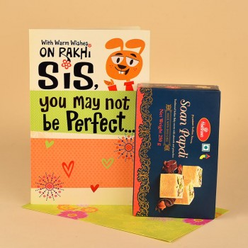 Soan Papdi with Rakhi Greeting Card for Sister