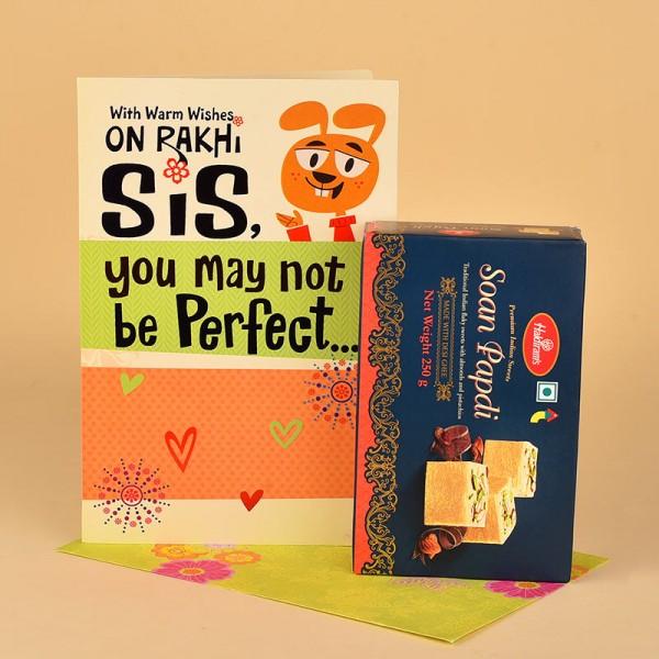 Soan Papdi N Rakhi Greeting Card for Sister