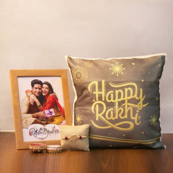 Rakhi with a Photo Frame and a cushion combo