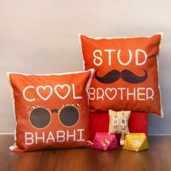 Bhaiya Bhabhi Cushion and Rakhi Combo