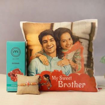 Personalised Cushion and Rakhi Combo