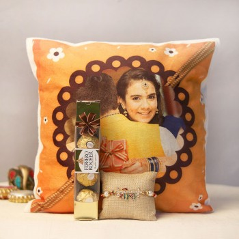 Veera Rakhi with a Personalised Cushion