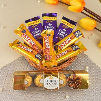 Chocolate Basket of 5 Five Star Chocolates (22.4gm), 3 Dairy Milk Chocolate (13.2 gm) with 4 pcs Ferrero Rocher Chocolate