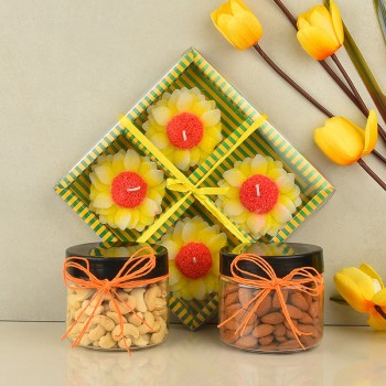 Flower Shape Candle with Almond and Cashew Nut Jars