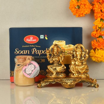 Metal Laxmi Ganesha with Soan Papdi and Jar Candle for Diwali