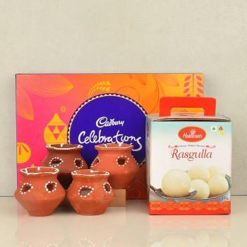 Rasgulla Pack with Cadbury Celebration and Matki Diya for Diwali