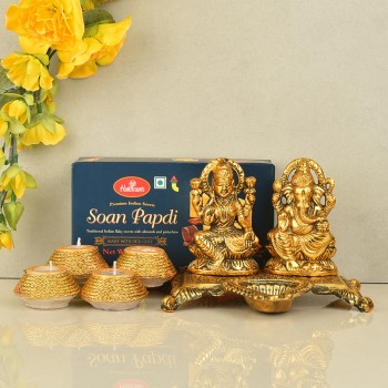 Metal Laxmi Ganesha with Designer Diya and Soan Papdi for Diwali