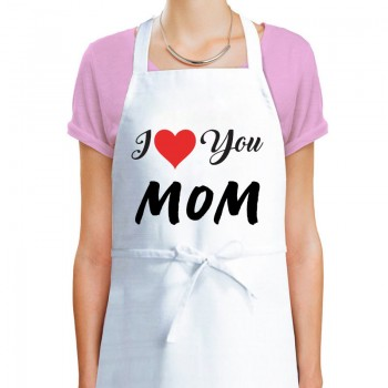 I Love You Mom Printed Apron