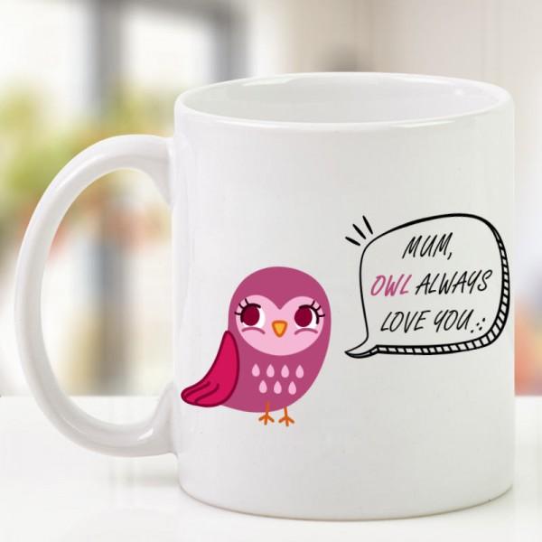 Pink Owl Printed Coffee Mug