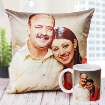 The Best Dad Ever Combo of Personalised Cushion and Coffee Mug