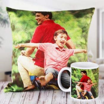 Personalised Combo of Cushion and Coffee Mug for Dad