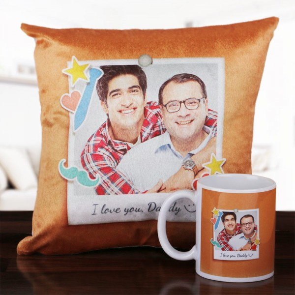 Best Dad Combo of Personalised Cushion and Coffee Mug