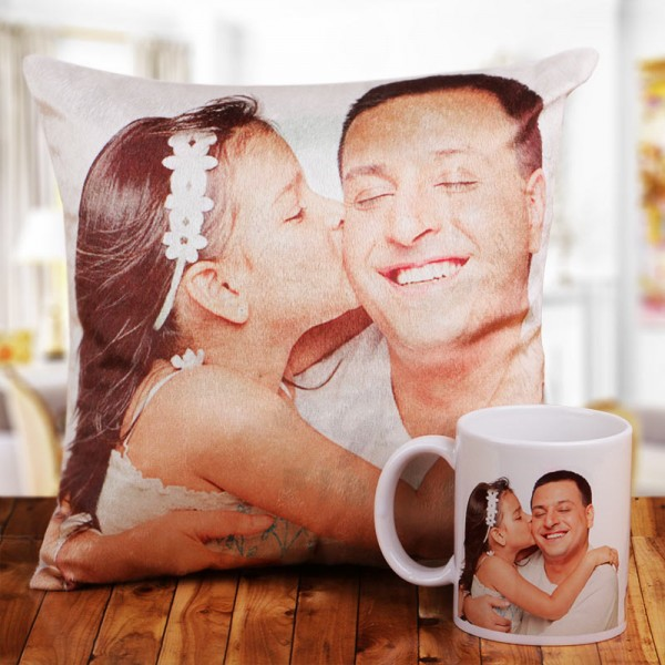 Personalised Cushion and Coffee Mug for Dad