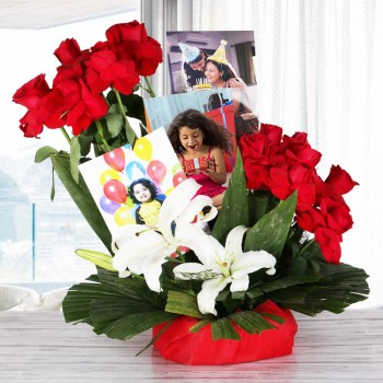 2 White Asiatic Lilies with 14 Red Roses and 3 Personalised Photos