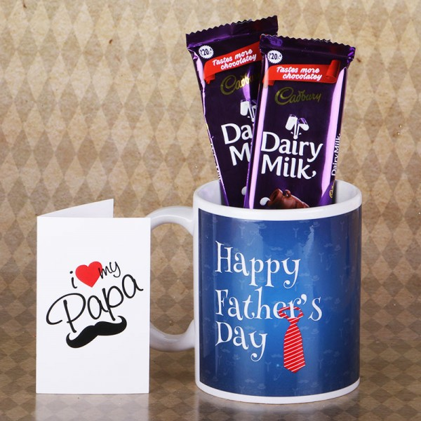 Happy Fathers Day Mug with Dairy Milk Chocolate and Greeting Card