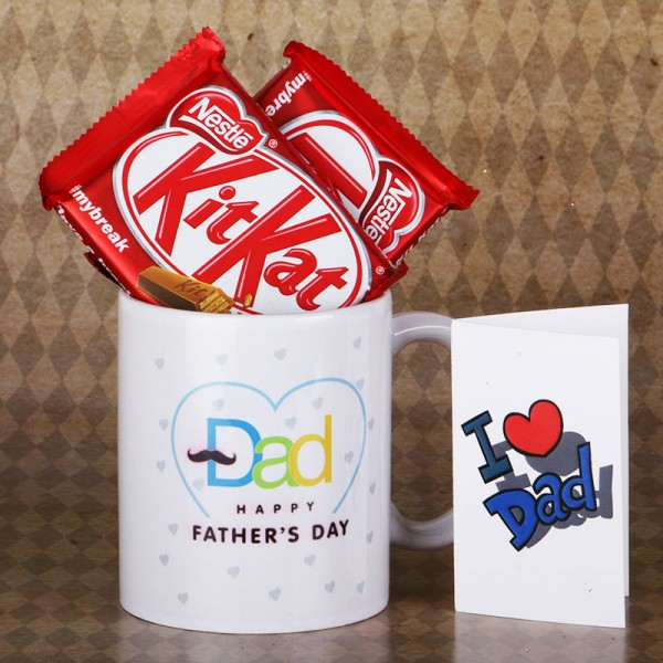 Happy Fathers Day Mug with Kitkat Chocolate and Greeting Card