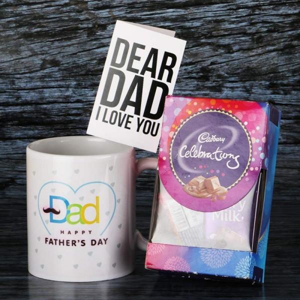 Happy Fathers Day Mug with Cadbury Celebration and Greeting Card