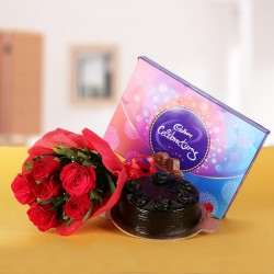 6 Red Roses wrapped in Red Paper with Half Kg Chocolate Truffle Cake and A box of Cadbury's Celebrations (131.3 gm)