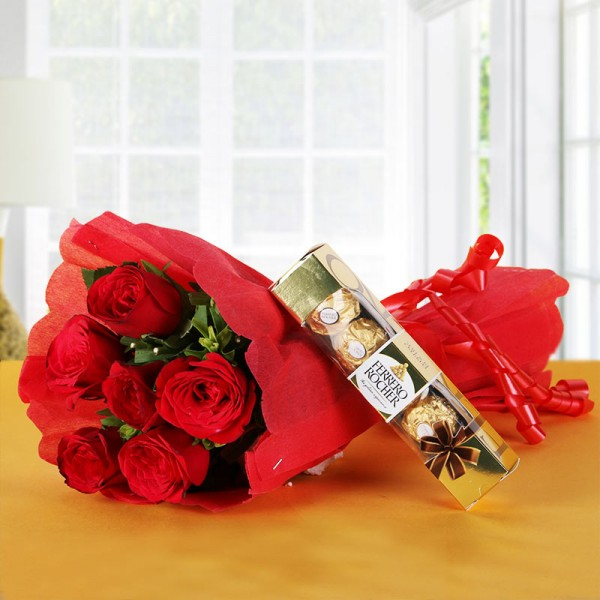 6 Red Roses Bunch with 4 Ferrero Rocher Chocolates