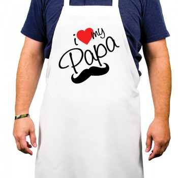 I Love u Papa Printed Apron