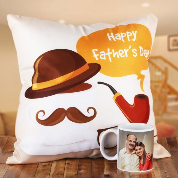 Fathers Day Personalised Coffee Mug and Cushion