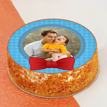 One Kg Butterscotch Cream Personalised Photo Cake for Dad