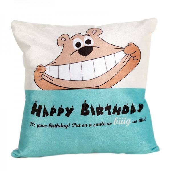 Blue Teddy Birthday Cushion