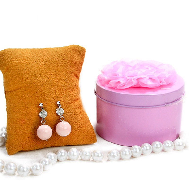 Pink Drop Earrings n Chocolate Hamper