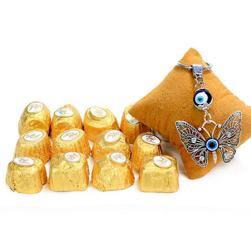 Evil Eye Butterfly Keychain n Handmade Choco Hamper