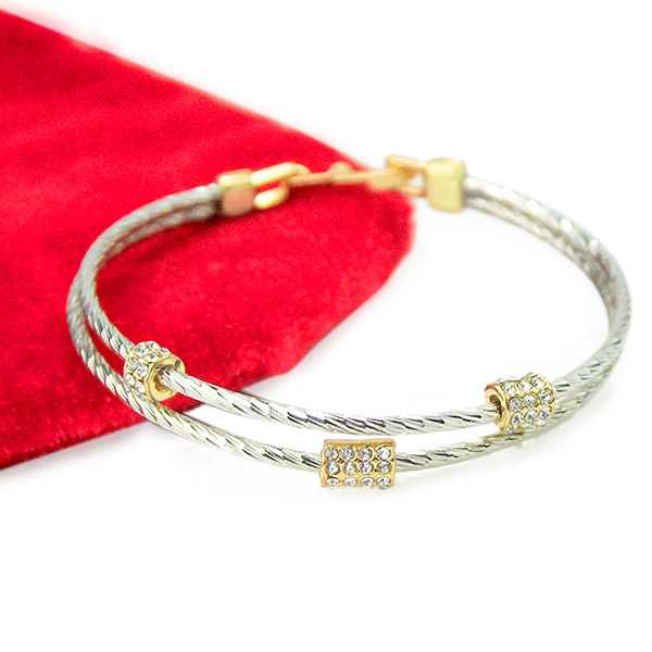 Embellished Silver Bangle Bracelet
